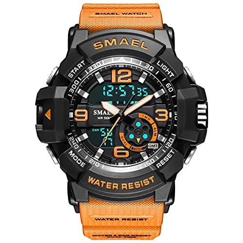 QZPM Relojes Deportivos Digital para Hombre, con Retroiluminación Alarma 50M Resistente Al Agua Multifuncional Grande De La Cara Militar Relojes Electrónicos,Naranja