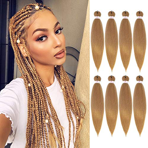 Pre Stretched Braiding Hair Extensions for Braiding Hair Pre-strected in 8 packs Synthetic EZY Braids Hair for Braiding Hair Easy Braid Yaki Hair(20inch,27#)