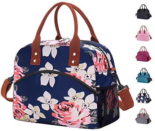 Reusable Large Insulated Durable Cooler Lunch Bag for Women Men Tote Bag with Adjustable Shoulder Strap for Office Work School-Peony Blue