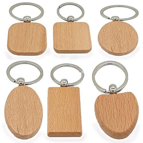 Pioneerclan - Portachiavi in legno fai da te, personalizzabile, senza iscrizioni, 6 forme, confezione da 6 pezzi