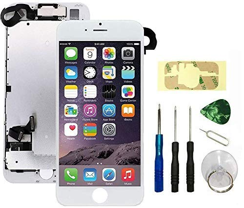 Screen Replacement Compatible with iPhone 7 White Full Assembly LCD 3D Touch Display Digitizer with Ear Speaker Sensors Front Camera and Repair Tools