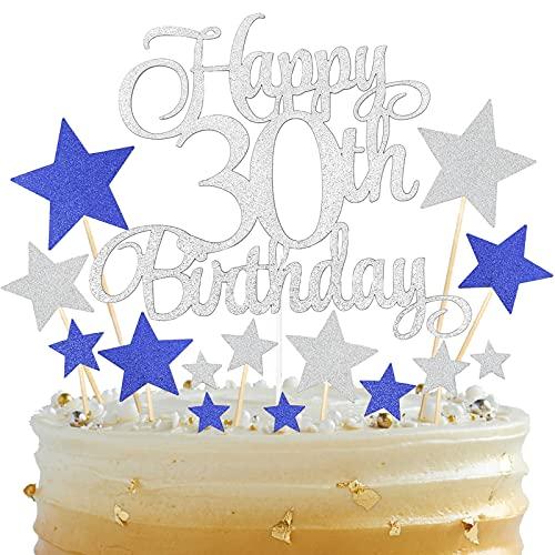 BOYATONG 15 Stücke Tortendeko,30.Geburtstagstorte Topper,Tortendeko Geburtstag,Happy 30th Birthday Tortendeko Silber,Glitzer Kuchen für Geburtstag für Frauen Männer