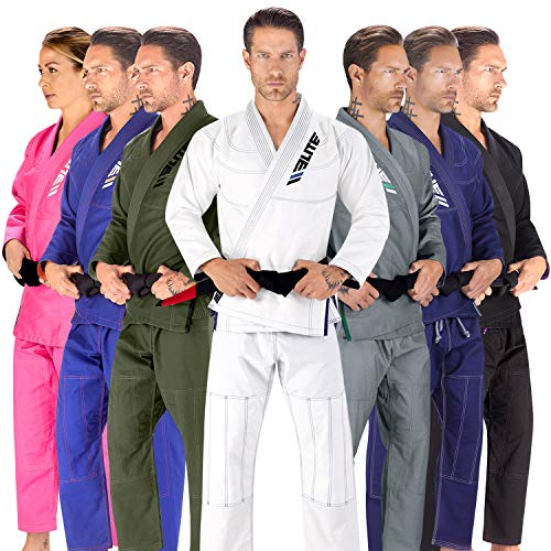 Elite Sports BJJ GI for Men IBJJF Kimono BJJ Jiujitsu GIS W/Preshrunk Fabric & Free Belt (See Special Sizing Guide) (White, Size 3L)