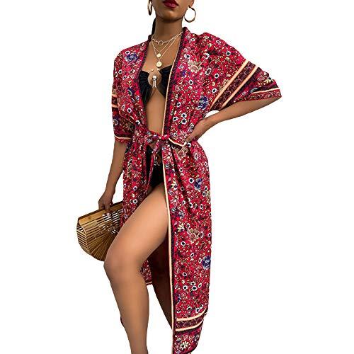 Loalirando Vestido de playa estampado floral bohemio para mujer, ligero, con cubierta Up y cardigan rojo L