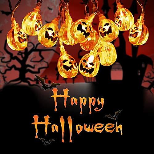 Eyscoco 20 Stück 3M LED Halloween Lichterketten, 3D Lantern Kürbislicht, mit 2 Modi Batteriebetriebene LED Lichterkette, Halloween Deko für den Innen- und Außenbereich (warm weiß)