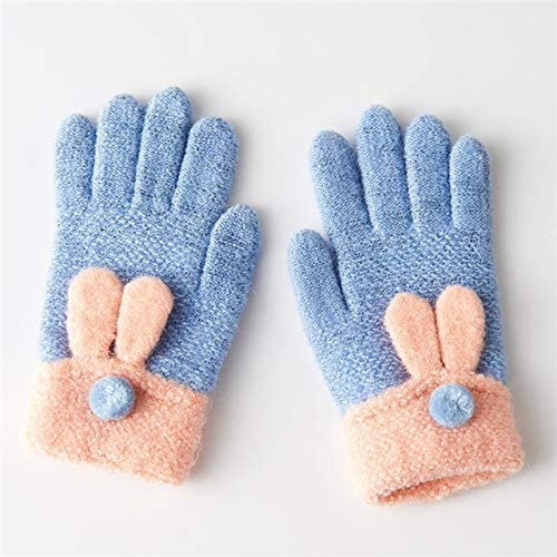 7-10 Years Old Gloves Female Winter Warm Easy to Write Lovely Princess Children's Gloves Female Winter C5325 - (Color: Light Blue, Gloves Size: One Size)