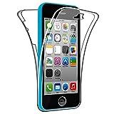SDTEK Funda para iPhone SE (2016-2019) / iPhone 5c 360 Doble Delantera [Transparente Carcasa] Full Body Case Bumper Cover Suave Silicona iPhone SE (2016-2019) / iPhone 5c
