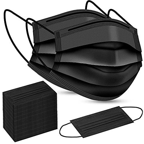 100Pcs Disposable Face Masks, Black Disposable Face Masks for Men & Women (Black)