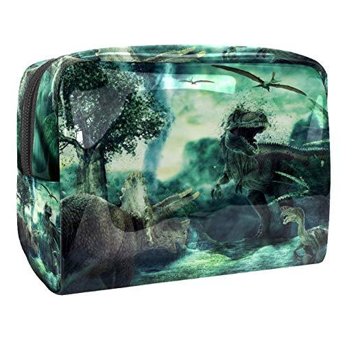 Bolsa de maquillaje portátil con cremallera, bolsa de aseo de viaje para mujeres, práctica bolsa de almacenamiento de cosméticos, dinosaurio 3D renderizado paisaje con montañas