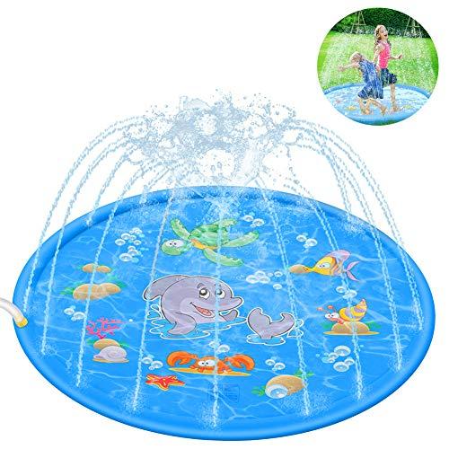 Leeko Splash Pad, Sprinkler Play Matte, Wasserspielzeug spielmatte Outdoor Sommer Garten Wasserspielzeug für Baby, Kinder, Hund und Haustiere (Delphin)