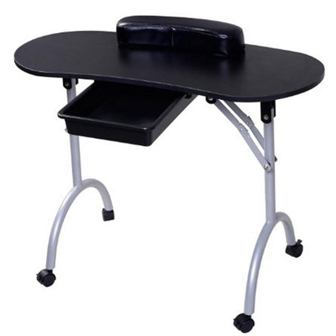 鳥新聞確認してください折りたたみネイルテーブルホームポータブルモバイルプーリー車スタジオビューティーサロンマニキュアテーブル引き出しとリストレストとキャリングバッグ,Black