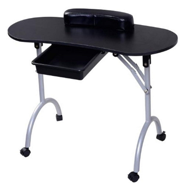 折りたたみネイルテーブルホームポータブルモバイルプーリー車スタジオビューティーサロンマニキュアテーブル引き出しとリストレストとキャリングバッグ,Black