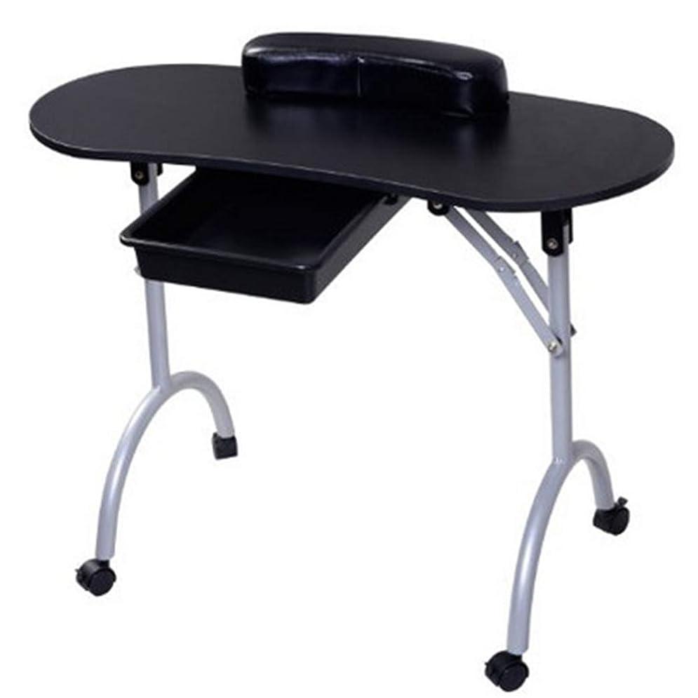 紫の説教する慢折りたたみネイルテーブルホームポータブルモバイルプーリー車スタジオビューティーサロンマニキュアテーブル引き出しとリストレストとキャリングバッグ,Black