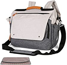 Large Diaper Bag w/ Changing Pad, Messenger & Backpack, Convertible Wide Open, Waterproof w/ Stroller Belts (Beige/Grey)