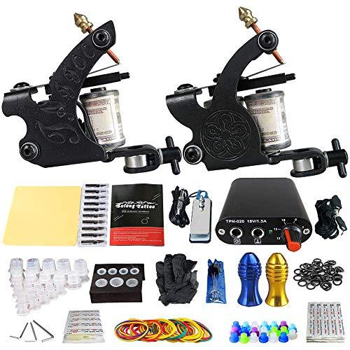 SS&LL Kit de Tatuaje Completo 2 Máquina de Bobina Profesional RifleTattoo Fuente de alimentación Agujas Pedal GripsProfessionel Tattoo Starter Kit Negro