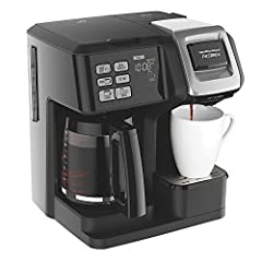 HAMILTON BEACH AUTHORIZED DEALER - Includes Full HAMILTON BEACH USA WARRANTY Hamilton Beach FlexBrew 2-Way Brewer Programmable Coffee Maker Black Carafe side with programmable timer and auto shutoff 2 easy-fill reservoirs and easy-view water windows ...