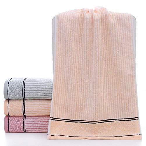 Fuduoduo 100% algodón Puro Toallas,Toalla Gruesa de algodón de Tira Vertical de Color Liso 35 * 75-Naranja Claro 3PCS,Home Juego De Toallas BañO 100% AlgodóN