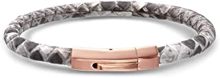 Mens Stainles Steel Snake Skin with Rose Gold Magnetic...