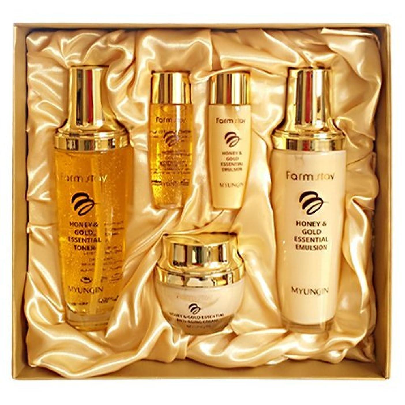 投げるベンチャー静かなファームステイ[韓国コスメFarm Stay]Honey & Gold Essential Skin Care 3set ハニーゴールドエッセンシャルスキンケア3セット [並行輸入品]