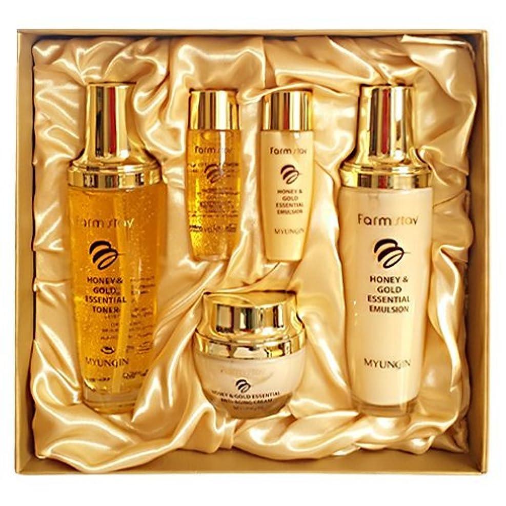 気づかないラジエーター足枷ファームステイ[韓国コスメFarm Stay]Honey & Gold Essential Skin Care 3set ハニーゴールドエッセンシャルスキンケア3セット [並行輸入品]