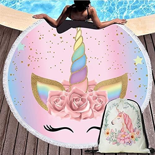 Unicornio De Dibujos Animados 150Cm Toalla De Playa Redonda Tapiz De Pared Manta De Picnic Portátil Bolsa De Almacenamiento para Deportes Al Aire Libre Paquete De Bolsillo Regalo para Niños