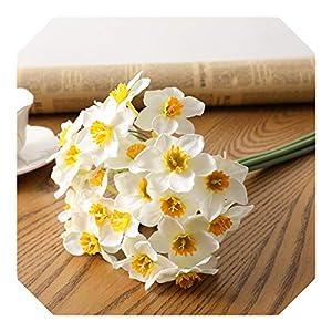 Silk Flower Arrangements Dreamture 6pcs/Lot Home Room Artificial Simulation Narcissus Flower Living Room Window Decor Fake Flowers Wedding Scene Decor Daffodil