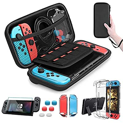 HEYSTOP Nintendo Switch Case - Nintendo Switch Carry Case Pouch + Switch Cover Case + HD Switch Screen Protector + Thumb Grips Caps for Nintendo Switch Console Accessories