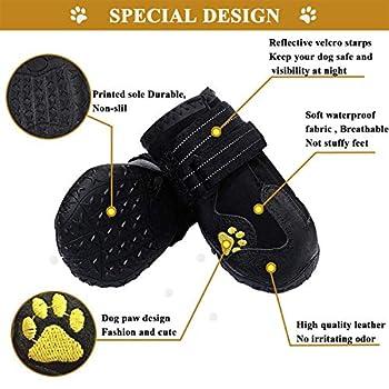 Havenfly 4 pcs Bottes Chien,Chaussures pour Chiens imperméables avec Bretelles réglables réfléchissantes pour Petits Chiens de Taille Moyenne (4)