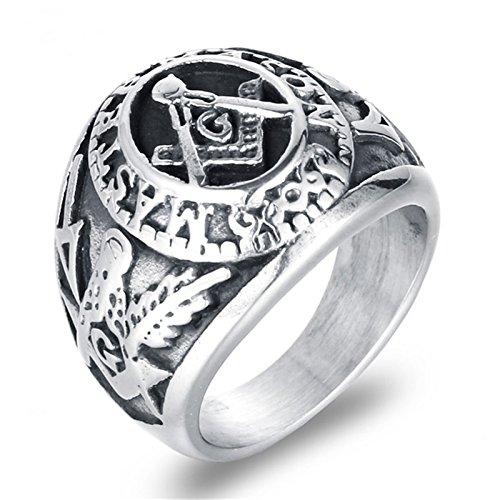 SonMo Edelstahl Herren Ring Ring Schwarz Mit Gravur Siegelring Herren Freimaurer Silber Größ: 62 (19.7)