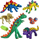 AllwaySmart 6 Dinosaurs Kids Crafts Kits Age 4-8 with Scale Stamp Non-Dry Modeling Clay - Dinosaur Gifts Toys Arts and Crafts for Boys Girls Age 5 6 7 8 Year Old Kids Family Activities Set