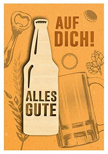 KE - Geburtstagskarte für Männer - Geburtstag Karte mit tollem Holzteil (Bier) und Innendruck - Format DIN B6 - inkl. Umschlag - Motiv: Bierflasche
