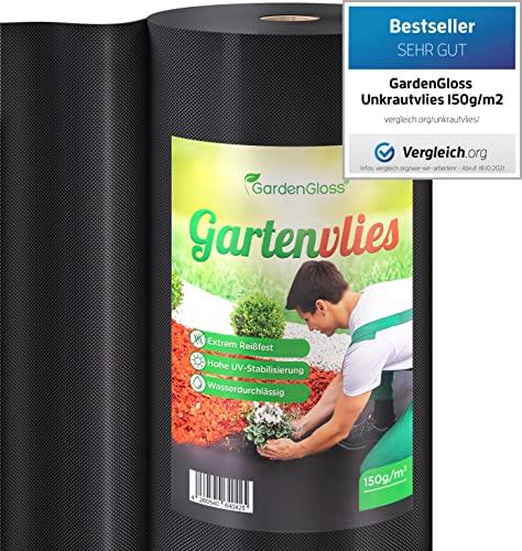 GardenGloss 50m² Toile de Paillage Anti Mauvaises Herbes 150 g/m² Très Épaisse – Toile de paillage Contre Les Mauvaises Herbes – Perméable à l'eau et Stable aux UV (50m x 1m, 1 Rouleau)