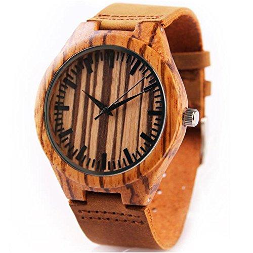 LIRONG Zebra Houten Horloge, Lederen Horloge Quartz Beweging Glas Spiegel Met Natuurlijke Lederen Riem