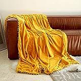 "Flannel Blanket with Pompom Fringe Throw Size Luxury Microfiber Soft Throw 40"" x"