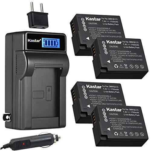 Kastar 4-Pack DMW-BLC12 Battery and LCD AC Charger Compatible with Panasonic Lumix DMC-FZ200 FZ200, Lumix DMC-FZ300 FZ300, Lumix DMC-FZ1000 FZ1000, Lumix DMC-FZ1000 II FZ1000II, Lumix DMC-FZ2000 -  CHL-4B-BLC12-J