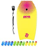 BPS 'Shaka' 41' Kids Teens Adult Surfers Bodyboard - Light Super Slick Bottom High-Speed Improve Balance Manueverability - Comes with Premium Black Wrist Coiled Leash (Yellow, Pink Accent)