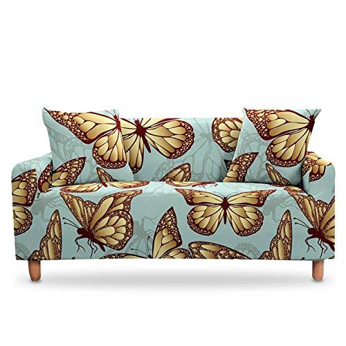 Elastischer Sofabezug,Universal Stretch Sofa Abdeckung, Golden Grey Butterfly Muster Elastische Couch Abdeckungen Polyester Spandex Ausgestattet Sofa Slipcover Möbel Protektor Einzel- Bis Viersitzer,
