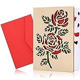 Tarjetas De FelicitacióN De Madera, Tarjetas De Aniversario De Madera, Tarjetas De FelicitacióN Con Sobre Para Navidad, Aniversario, CumpleañOs, Boda, DíA De San ValentíN (Rosa roja)