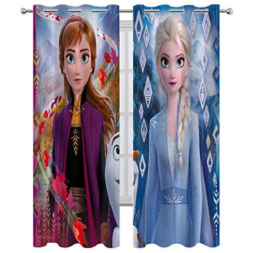 SSKJTC Bedroom Curtains Frozen 2 Elsa and Anna Blackout Window Drapes W63 x L63