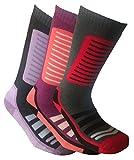 i-Smalls Damen 3er Pack Ski Socken 35-41 (Vio/Gra) (Ros/Bry/Sch) (Sch/Gra/Red)