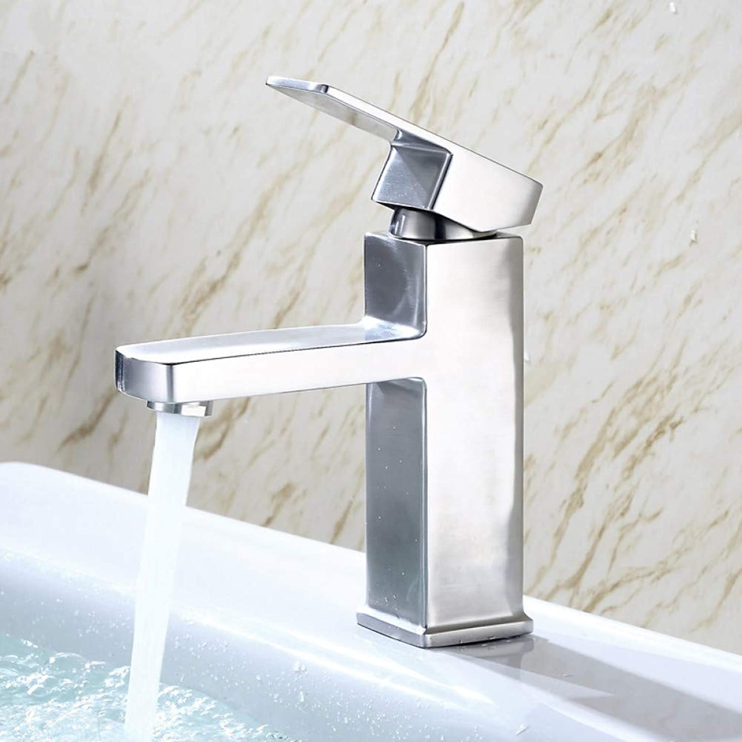 YHSGY Bathroom Sink Taps 304 Stainless Steel Basin Faucet Bathroom Mixer Tap Basin Faucets Hot and Cold Water Lead-Free with Hose