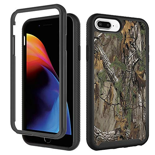 Case for iPhone 6 Plus 6s Plus, Camouflage Tree Trunk iPhone 8 Plus Case, Leaf Hunting Camo Forest iPhone 7 Plus Case Designer Rugged Dual Layer Bumper Full-Body Protective Cover 5.5 inch