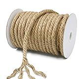 KINGLAKE - Cuerda de Yute Gruesa para jardín, 10 mm, Cuerda de cáñamo, Cuerda de Yute Gruesa para Envolver, decoración del hogar, jardinería