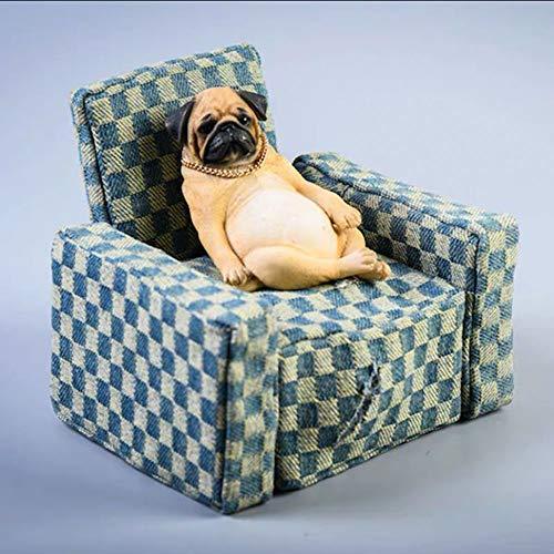 Wuhuayu Pug Figura Sentada En El Sofá, Perro Triste Perezoso con Cadena De Collar De Oro(Color:Cara Triste de Pug Amarillo)