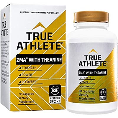 True Athlete ZMA with Theanine Combination of Zinc Magnesium to Help Increase Muscle Strength Power, NSF Certified for Sport (90 Capsules)