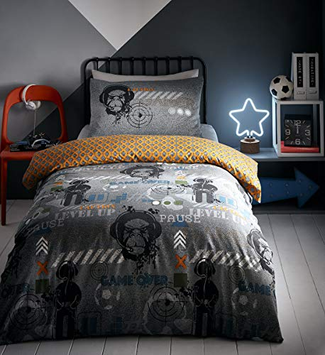 Portfolio Gamer Duvet Fully Reversible Glow in The Dark Quilt Cover Teenagers Kids Bedlinen Bedding Set, Grey, Single