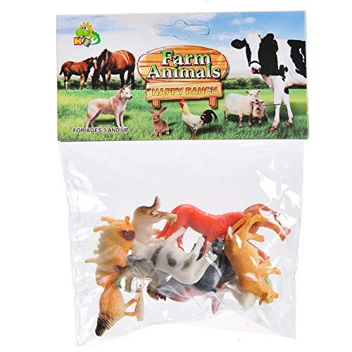 LG-Imports 12er Set Farmtiere Haustiere Bauernhof aus Kunststoff -12-Fach Sortiert - Pferd, Ziege, Huhn, Ochse, Gans, Kuh, Schwein, Schaf, Ente, Hund, Katze und Hahn