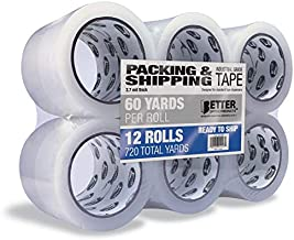 12 Pack Clear Packing Tape Refill Rolls, Heavy Duty, by Better Office Products, 1.88 Inch x 60 Yards Per Roll, 720 Total Yards, 12 Rolls