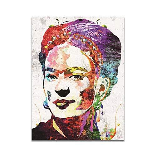 Cuadro Lienzo Frida. Caro Acuarela Mujer Retrato Pintura