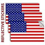 3PC Reflective American Flag Sticker - 5x3...